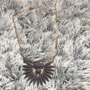 Gold and mauve purple necklace